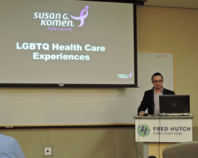 Komen Puget Sound Community Advocate Eli Grossman presents findings from his research about LGBTQ health care experiences in Western Washington.